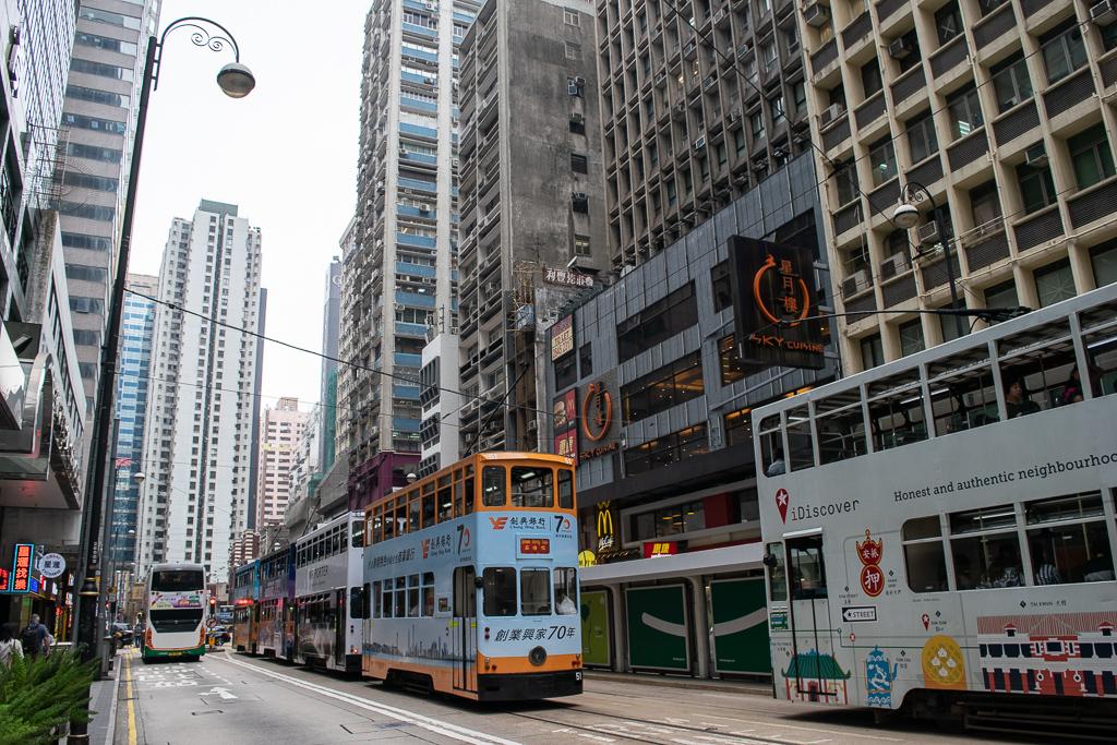 Piętrowe tramwaje w hongkongu