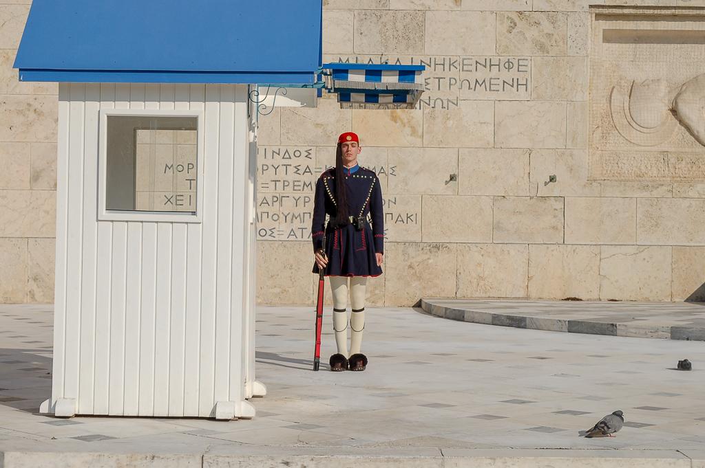 Zmiana warty pod parlamentem w Atenach